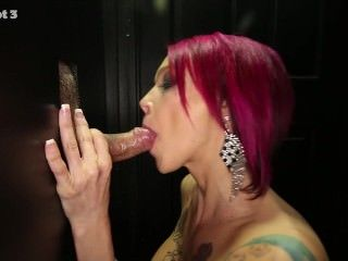 Glory-hole she swallows lots of cum