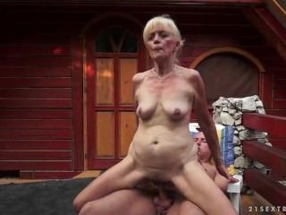 Old blonde granny seduces young stud