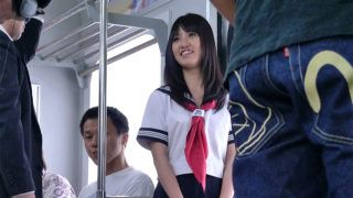 Pretty schoolgirl likes to travel with trains